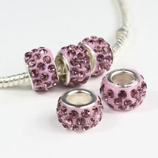 10pcs Czech Crystal Rhinestone Clay Silver Big Hole Spacer European Charm Beads