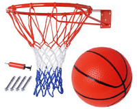 Basketball Hoop Metal Ring with Net & Ball & Pump Set & Wall Mounted Fixings 326