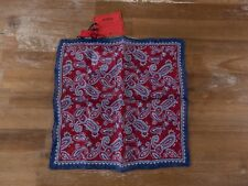 ISAIA Napoli 100% linen paisley motif pocket square authentic - NWT