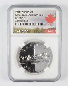 MS68 DPL 1984 Canada $1 Silver - Toronto Sesquicentennial - Graded NGC *410
