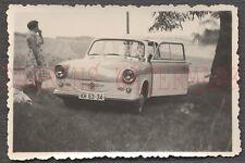 Vintage Car Photo Woman w/ Trabant Automobile 672649