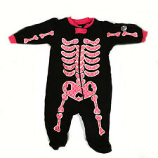Infant Baby Girls Black Pink Halloween Skeleton Footed 1pc PJ Size 0-3m
