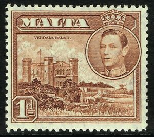 SG 219 MALTA 1938 - 1d RED-BROWN - MOUNTED MINT