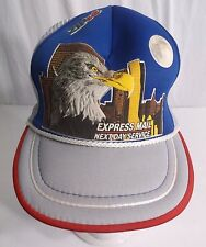 6ffbef271ca Vintage USPS Express Mail Mesh SnapBack Trucker Cap Hat Eagle NYC Buildings