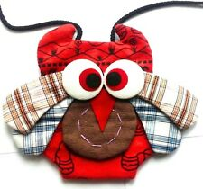 Small childrens owl purse small bag with neck strap