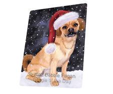 Christmas Holiday Puggle Dog Tempered Cutting Board Large Db298