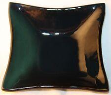 "Fused Glass Art Bowl Small Square Transparent Aqua 3.5"" x 3.5"" Handmade in USA"