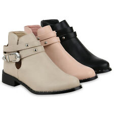 Damen Stiefeletten Ankle Boots Cut Outs Leder-Optik Booties 820946 Schuhe