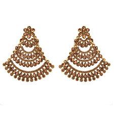 Jwellmart Indian Bollywood Brown CZ Wedding Chandbali Fashion Cocktail Earrings