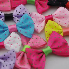 20pcs Mix Dots Satin Ribbon Bows Flowers DIY Crafts Wedding Appliques B89