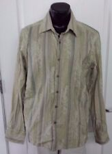 Kenneth Cole New York Long Sleeve Button Front Frayed Vintage Stripes Shirt XL