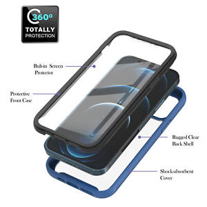 For iPhone 12 11 Pro Max 8 7 SE 2020 Case 360 Full Clear Shockproof Hard Cover