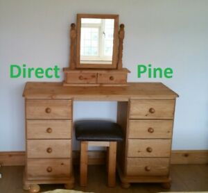 PINE FURNITURE RICHMOND 8 DRAWER DRESSING TABLE SET WITH MIRROR AND STOOL