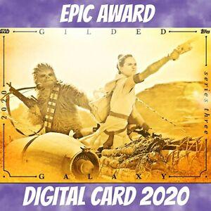 Topps Star Wars Card Trader Rey Chewbacca Gilded Galaxy Award S/3 2021 Digital