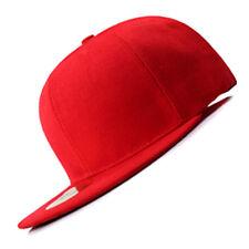 New Red FLAT Peak SNAPBACK Plain Blank Cap Dancer Hat Chapeau #flat #cap