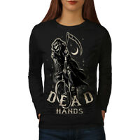 Wellcoda Grim Reaper Dead Skull Womens Long Sleeve T-shirt, Grim Casual Design