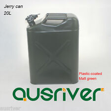 20L Jerry Can 0.8mm Matt Green Plastic-coated Steel Portable Petrol Storage Can