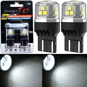 LED 15W 7444 White 6000K Two Bulbs Light Rear Turn Signal Replace Upgrade Lamp