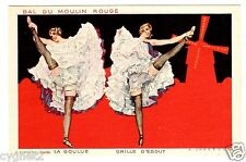 POSTCARD FRENCH CAN-CAN DANCERS MOULIN ROUGE SIGNED CHAZELLE