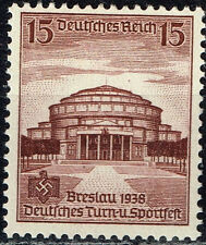 Germany WW2 Breslau Swastika Stadium stamp 1938 MLH