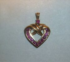 Sterling Silver Gold Vermeil Heart Pendant w/reddish colored stones