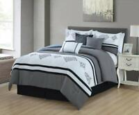 7 Pcs Luxury Embroidery Bed in Bag Soft Microfiber Comforter Set Gray,Queen Size