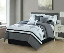 7P Luxury Embroidery Bed in Bag Soft Microfiber Comforter Set Gray,King Size,NEW