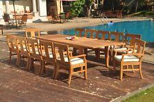 "13pc Grade-A Teak Dining Set 122"" Caranas Rectangle Table 12 Osborne Arm Chair"