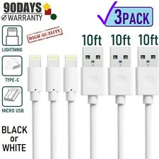3-pack 10FT PVC Sync-Charging USB Cable for iPad,iPhone 8,X,XR,XS,11, & Android
