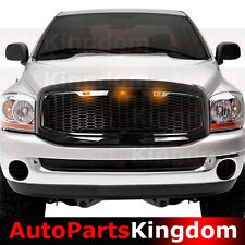 06-08 Dodge RAM Truck Raptor Style Gloss Black Mesh Grille+Shell+Amber LED light