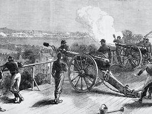 1871 Print FRANCE CIVIL WAR - FORT VALERIEN FIRING AT PARIS Franco Prussian War