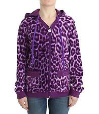 NEW $300 JUST CAVALLI Sweater Zip Hoddie Underwear Purple Leopard IT48/ US14/XXL