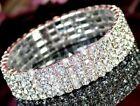 SL002 4 Rows Crystal Rhinestone Party Wedding Bridal Elastic Bracelet Wristband