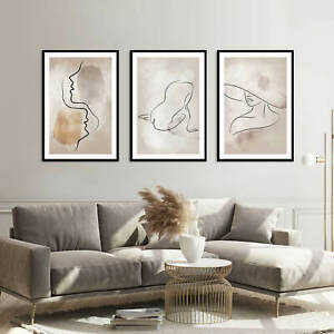 A3 Set of 3 Modern Wall Pictures Frame Posters FRAMED Abstract BOHO Art Line