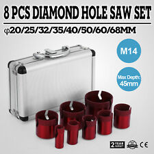 8 Pezzi Sega a Tazza Diamantate Frese Punte Diamantate Trapano Granito 20-68mm
