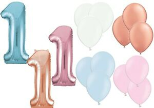 """34"""" Large 1st Birthday Number 1 Boy Girl Foil Balloon Helium Pink Blue Rose Gold"""