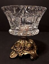 Vintage CORNELL Footed Brass And Cut Crystal Compote Candy Dish