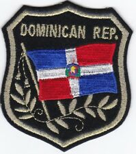 """5 DOMINICAN REP. Flag in Shield Embroidered patches 3.25""""x2.75"""" iron-on"""