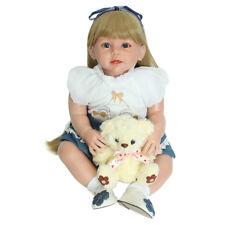 28'' Silicone Realistic Handmade Reborn Blonde Girl Doll Bear Newborn Baby Toy