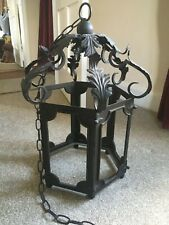 More details for lovely unglazed victorian wrought iron hanging lantern with fixing chain - black