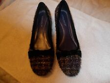 Women Black & Purple Tweed Fabric Shoes Size 8