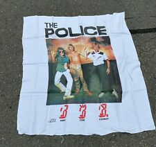 Vintage 1982 The Police White Nylon Tapestry 44� x 46� Tapestries