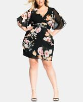 City Chic Women's 14w Plus Size Floral Print Belted Dress, Black, NwT