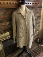 Womens Eddie Bauer 100% Wool Long Tan Cardigan Size Small