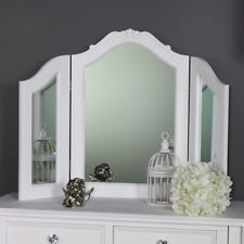 White tabletop triple vanity dressing table mirror vintage shabby French chic