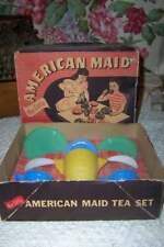 VTG AKRO AGATE AMERICAN MAID TEA SET TOY DISHES N BOX