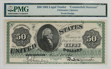 "1862 $50 LEGAL TENDER NOTE  PMG CERTIFIED ""COUNTERFEIT DETECTOR"" FRONT DESIGN"