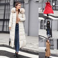 Womens Winter Outerwear Fur Hooded Coat Long Cotton-padded Jackets Pocket Coats