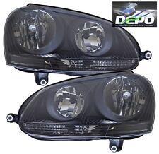 06-10 Volkswagen Jetta Sedan Black Head Lights OE Style DEPO Halogen