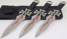 Perfect Point Gothic Cross Flame Ninja 3-PC Throwerz Throwing Knife Knives Set